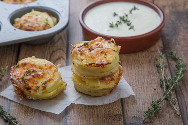 Twice Baked Mini Potato Dauphinoise - Potato Gratin  Muffins  The emmenthaler cheese, for those of you who don't Google, is a mild swiss cheese...