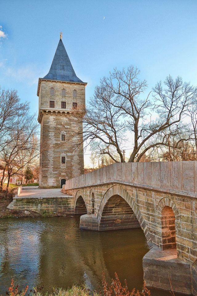 Tower of Justice and Bridge of Fatih, Edirne, Turkey