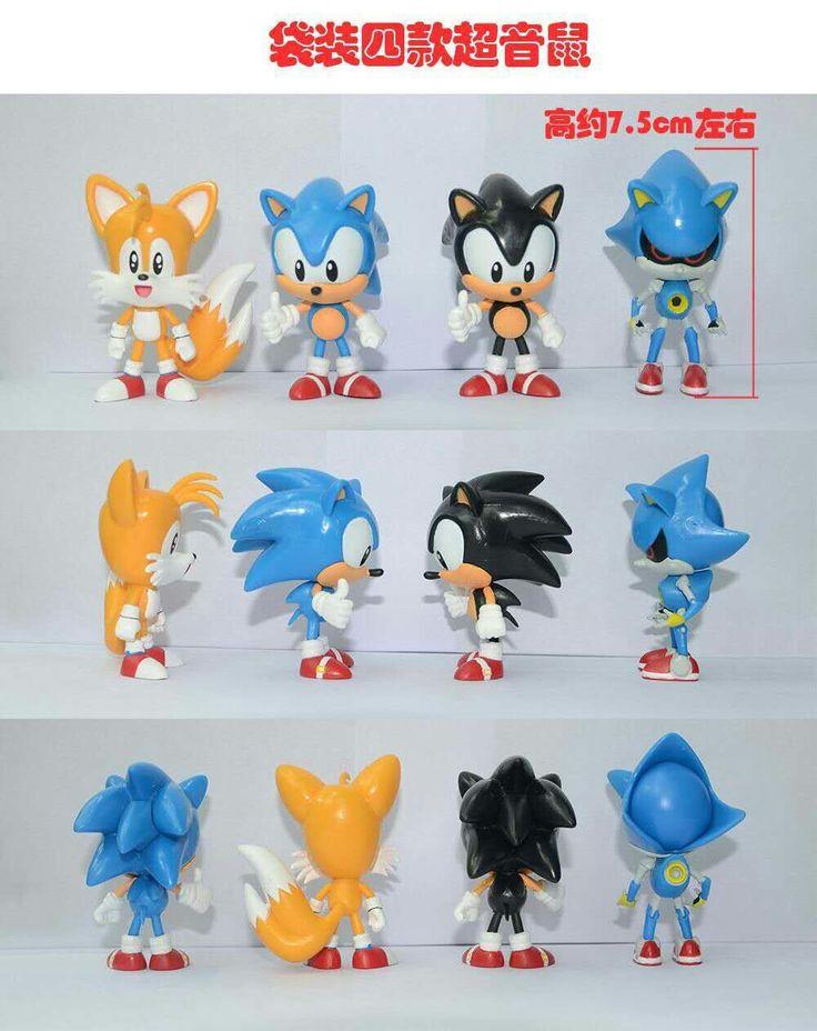 4Pcs/set Anime Cartoon Sonic Figure Action Doll Toys Retail New Hot #Affiliate