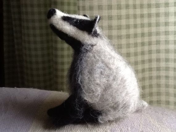 Needle felted Badger by SawdustNFluff on Etsy