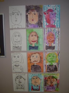 Student self portraits. Draw in pencil, go over in black marker then photocopy.