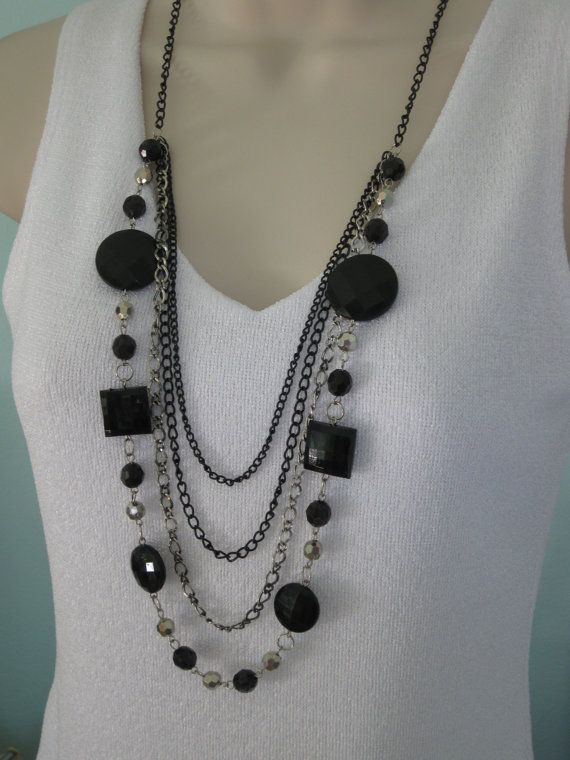 Long Chunky Black Beaded and Chain Necklace by RalstonOriginals, $15.00