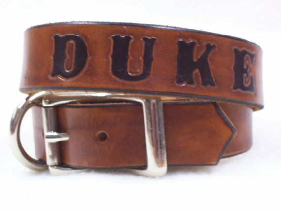 Leather Dog Collar Personalized with Your Dogs Name by Geralyn, $39.00