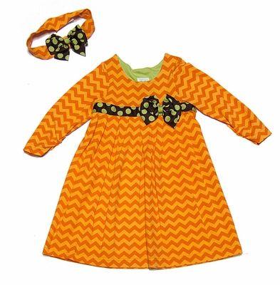 Peaches 'n Cream Girls Orange Chevron Dress with Headband