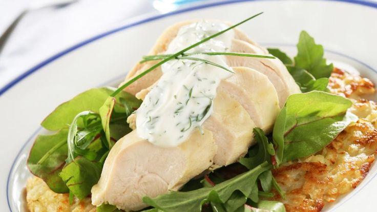 Oppskrift på Lettsaltet kyllingfilet med estragonsaus