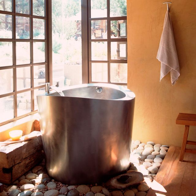 41 best images about japanese inspired bathrooms on for Japanese bath tube
