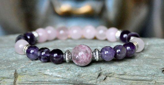 Protection Tourmaline Amethyst Rose Quartz gemstone bracelet,love yoga bracelet,mala bracelet,healing meditation bracelet,chakra bracelet