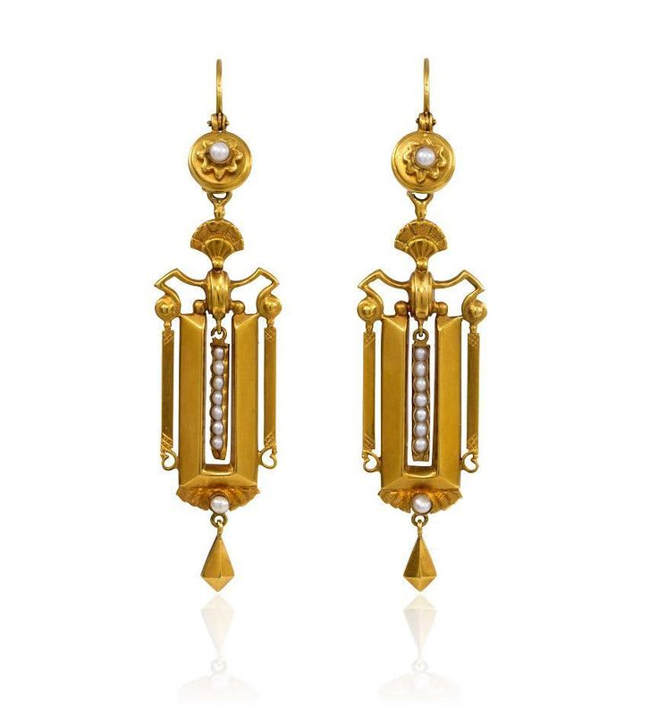 A pair of antique gold and pearl earrings of rectangular design terminating in kite-shaped pendants and with fan shaped surmounts, in 15k. Available at Kentshire.