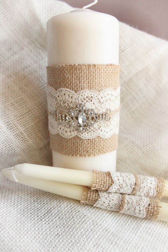 Unity candle set for rustic country style wedding. Burlap wedding candles,   This set includes 3 burlap unity candles wrapped in Burlap and Lace,