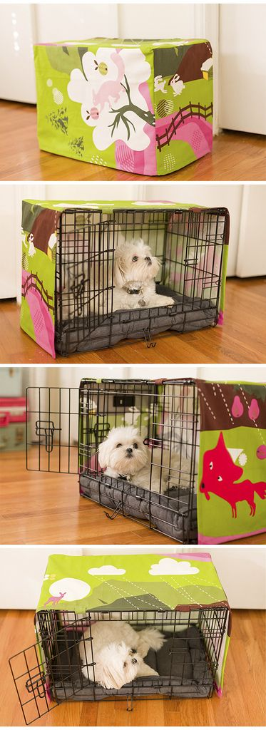I made this crate cover for my dog using IKEA fabric. BTW the pup is Mochi_Ball on Instagram if you want to follow her :)    #maltese #shihtzu #puppy #dog #malshi
