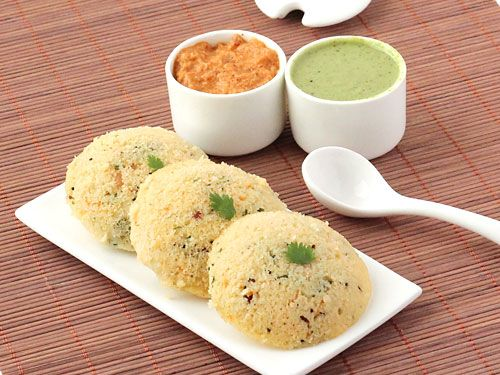 Rava Idli - Soft and Spongy Steamed Cake made with Semolina, Curd, Carrot and Basic indian Spices