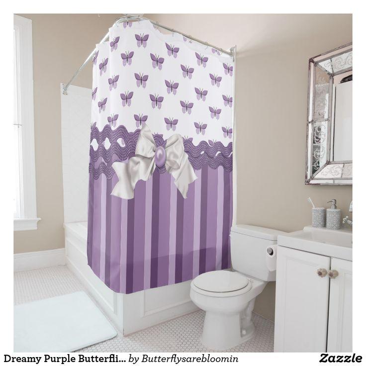 Dreamy Purple Butterflies Shower Curtain