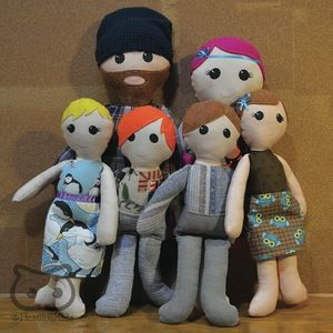"""Custom Doll Family: 2 Adults + Kids cloth dolls, custom personalized keepsake doll - My specialty is making custom keepsake dolls to your specifications. Each of my dolls starts out with a basic pattern, but the details are entirely up to you! This listing is for a customized doll family including 2 parents (approx. 18"""" tall) and up to 4 children (approx. 13"""" tall)."""