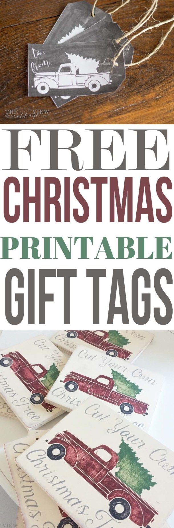 Vintage Truck Getting the Annual Christmas Tree Free Printable Holiday Gift Tags | The Mountain View Cottage - The BEST Christmas and Holiday FREE Printables - Gift Tags - Gift Card Holders - Christmas Greeting Cards and more FREE Downloadable Printables for the Holiday Seasons