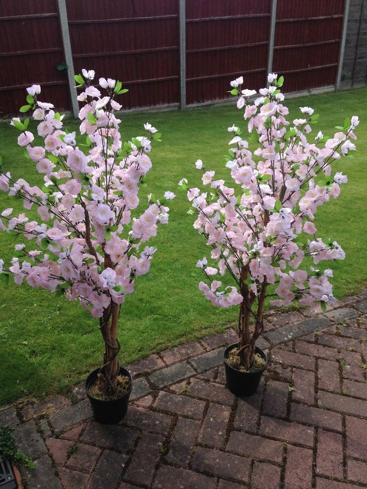 2 large pink artificial cherry blossom trees