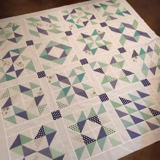 Camille Roskelley's half square triangle block quilt.  25 blocks using  half square triangles.
