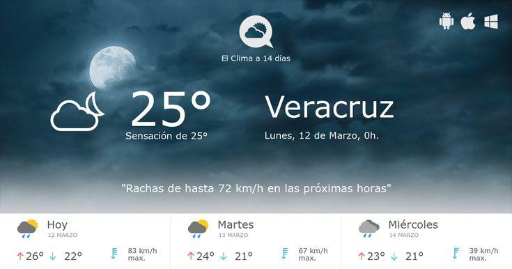 Clima en Veracruz con el estado del tiempo a 14 días. Los datos sobre el Tiempo, temperatura, velocidad del viento, la humedad, la cota de nieve, presión, etc . Veracruz Pronóstico a 14 días