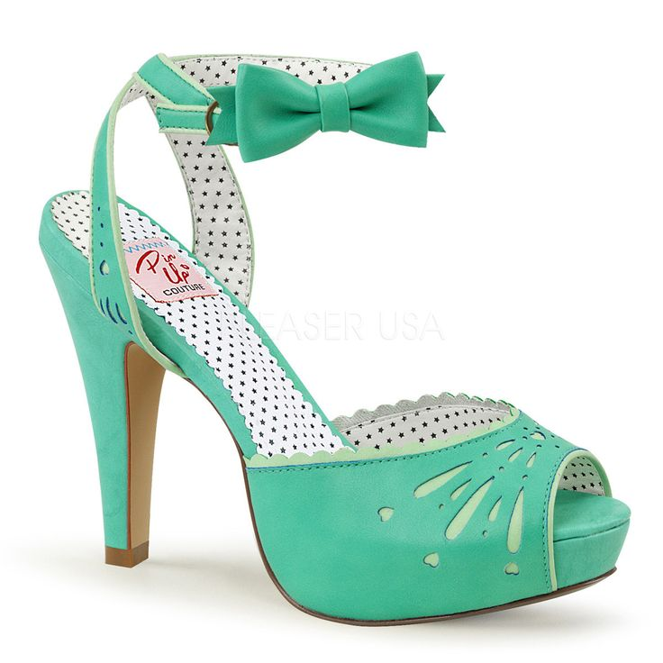 Pin Up Couture BETTIE-01 Teal Sandal With Bow
