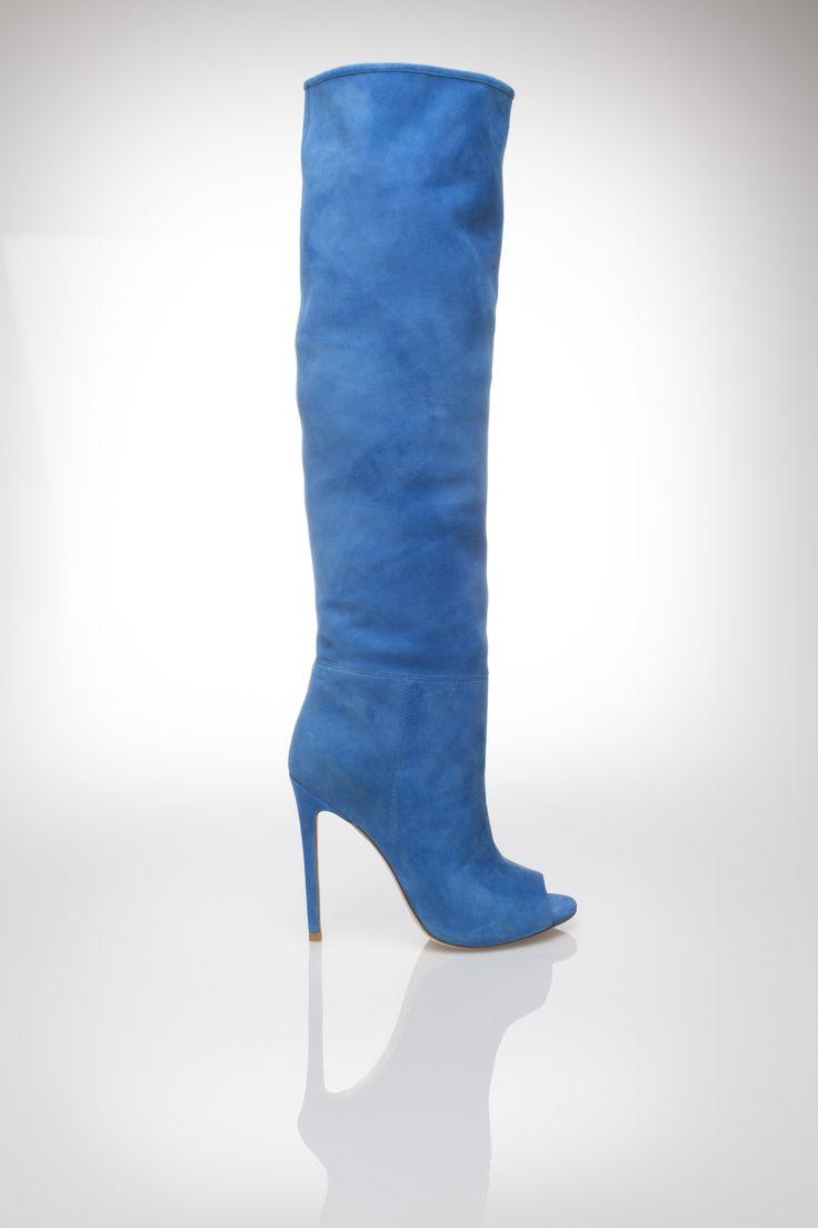 dark azul suede open toe boot, high heel Gianni Renzi Couture