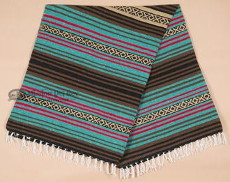 Old Style Southwestern Blanket 56x74 -Turquoise & Brown (mb13a)