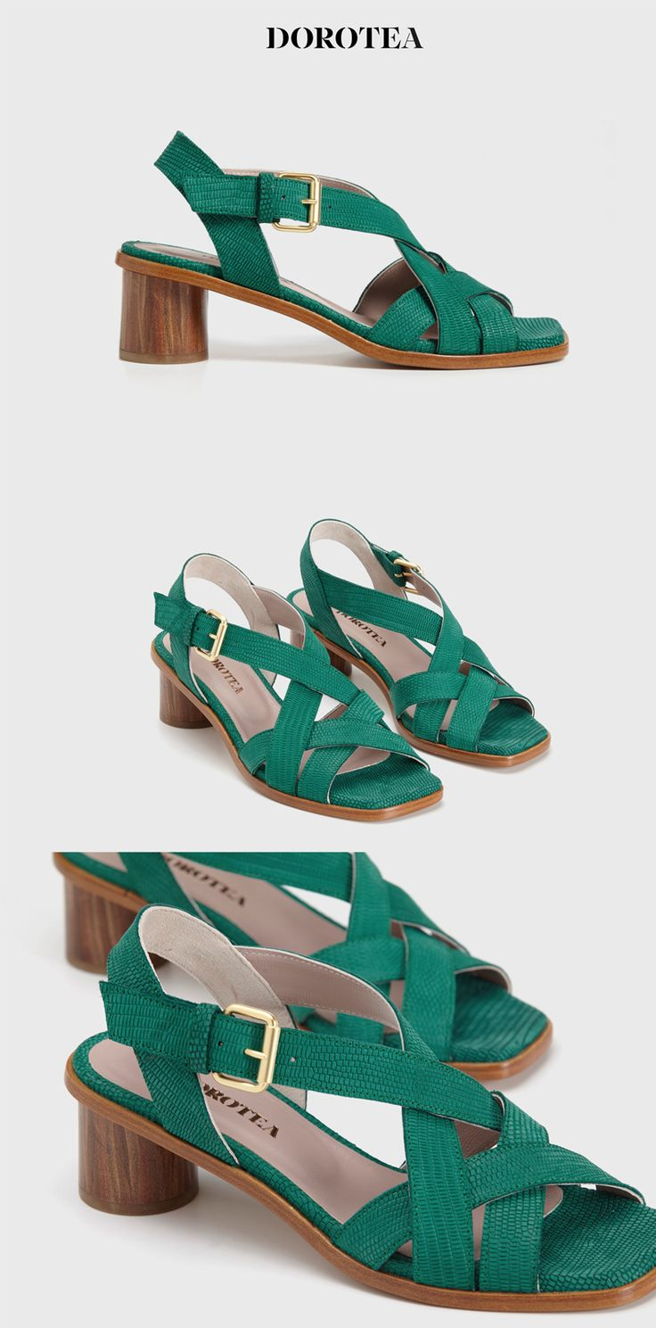 JEANNE || Sandalia tacón medio  Ref.: 1709 Color: Verde Esmeralda