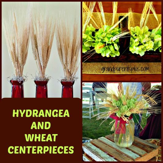Hydrangea and Wheat Centerpieces