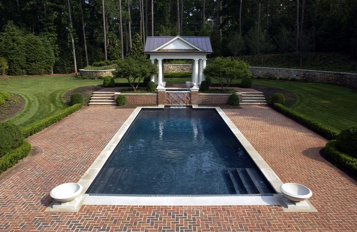 Inground Swimming Pool with Limestone Coping and Brick ...