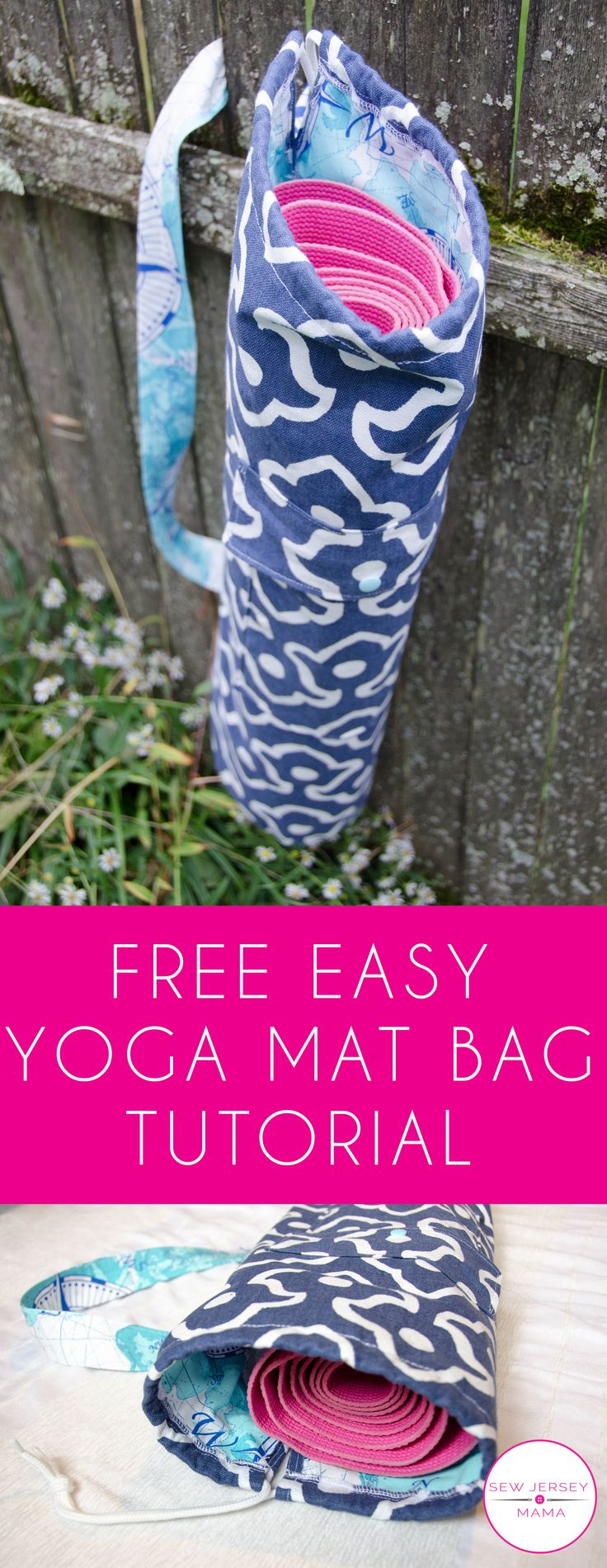 Free Yoga Mat Bag Tutorial | Easy Yoga Bag Tutorial | Sewing Tutorial | Yoga Mat Bag | Free Tutorial | Sew Jersey Mama
