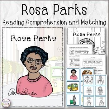 Rosa Parks is a product that talks about her life and accomplishments. This product includes a 6 page (and cover) black line image reading comprehension set followed by a 3 page (15 question) test with a word bank. Easy to copy and can be put together