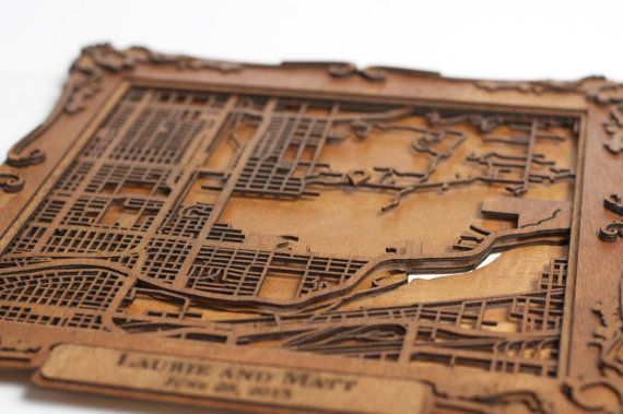 "CUSTOM Laser Cut Wood Map with Personalized Frame- 8"" CollectedEdition"