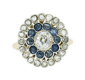 Anillo con brillantes y zafiros - Sapphires and diamonds ring