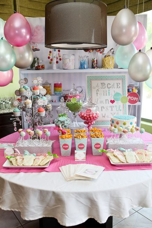 Ready to Pop Baby Shower Dessert Table: Baby Shower Desserts, Hanging Balloon, Baby Shower Ideas, Ready To Pop, Parties Collection, Pop Baby Showers, Printable Parties, Desserts Tables, Baby Shower