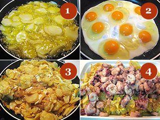 Proceso de preparación de los huevos rotos