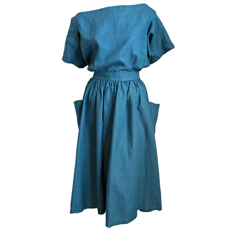 1980's AZZEDINE ALAIA turquoise linen dress with cut out back | 1stdibs.com