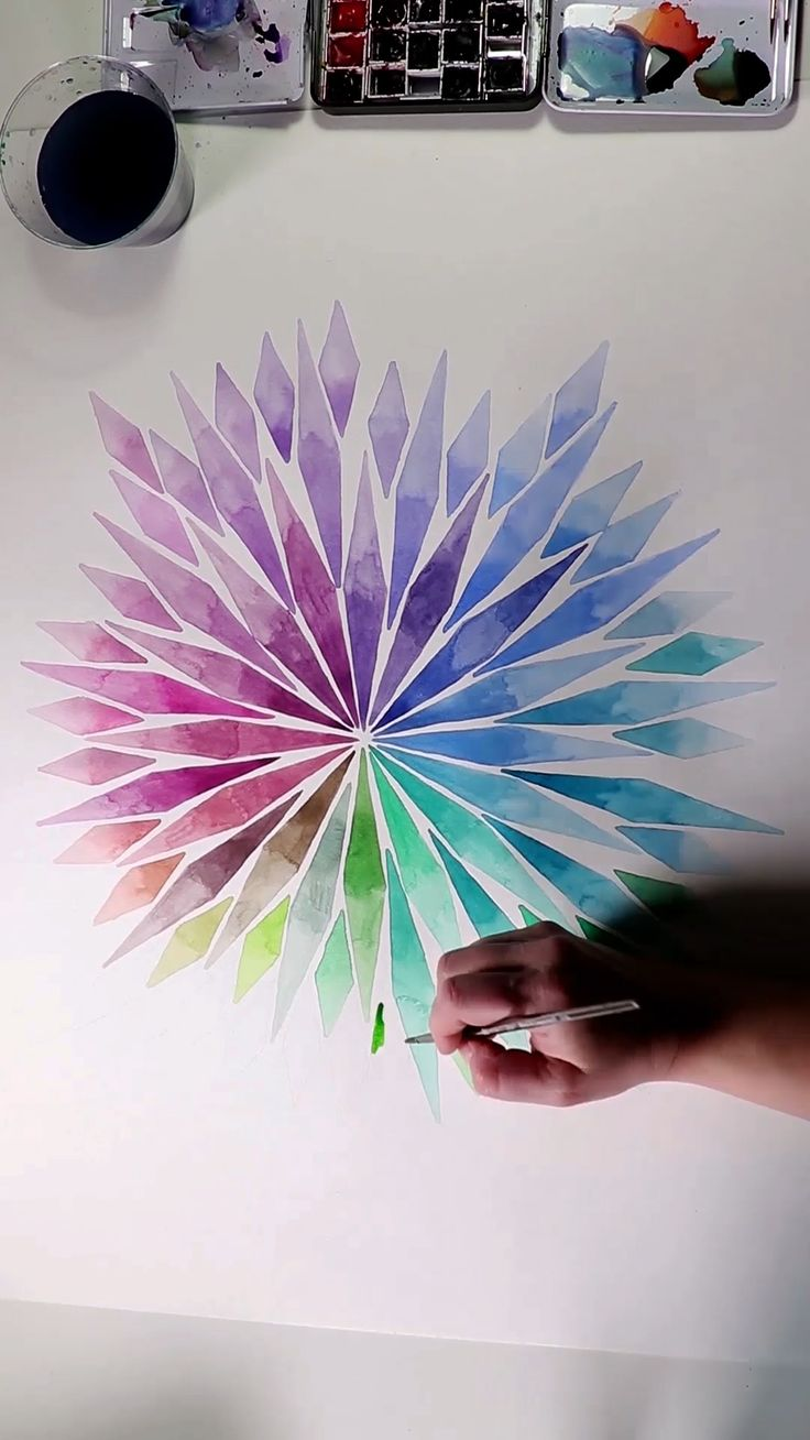 Watercolor Gradient Rainbow Explosion by Josie Lewis