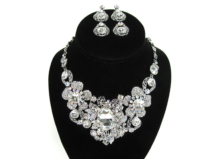 Chunky Rhinestone Crystal Bridal Statement Necklace Wedding Necklace. $64.00, via Etsy.