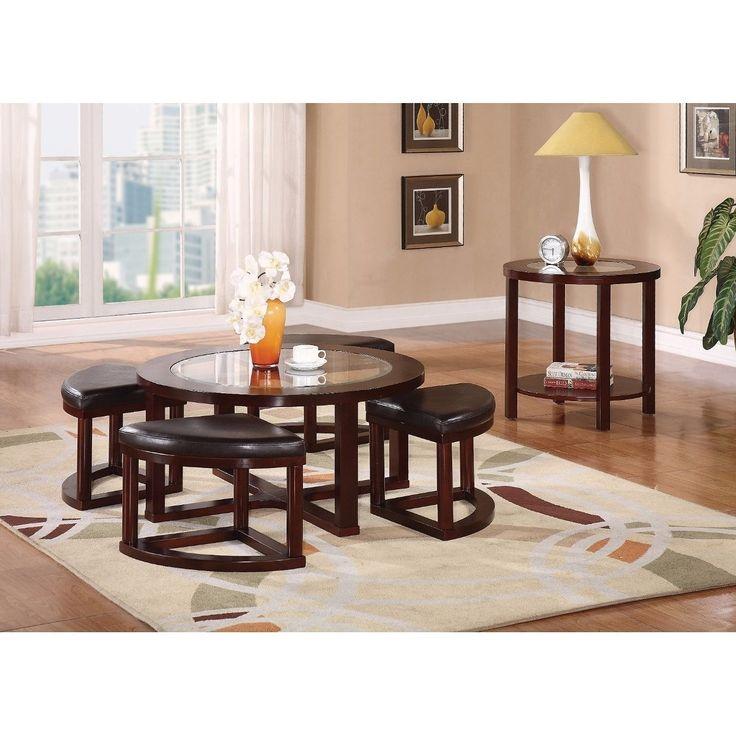 Benzara Modish Pack Coffee Table/ Ottoman Set, 5 Piece, Espresso Brown