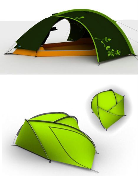 Incredibly Leaf-Like: 12 Bio-Inspired Plant-Based Designs (image via: design boom) The vein structure of a leaf inspired the shape of this tent by designer Ondrej Vaclavik, theoretically strengthening the design through the strategic placement of the tent poles. It certainly makes for an interesting tent, which is almost more reminiscent of a 'leaf bug' than a leaf itself.