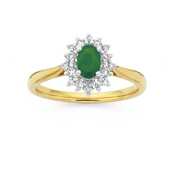 9ct Emerald & Diamond Cluster Ring Total Diamond Weight=.16ct