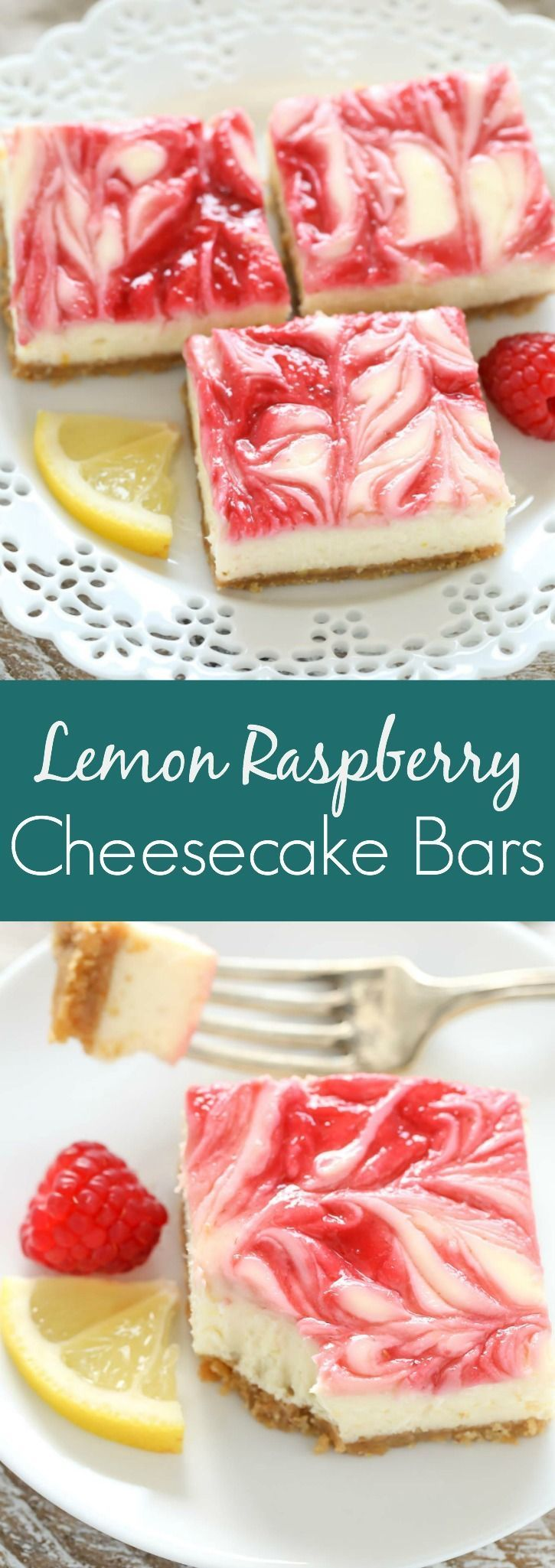 These Lemon Raspberry Cheesecake Bars feature a creamy lemon cheesecake filling with a raspberry swirl topped on a homemade graham cracker crust.