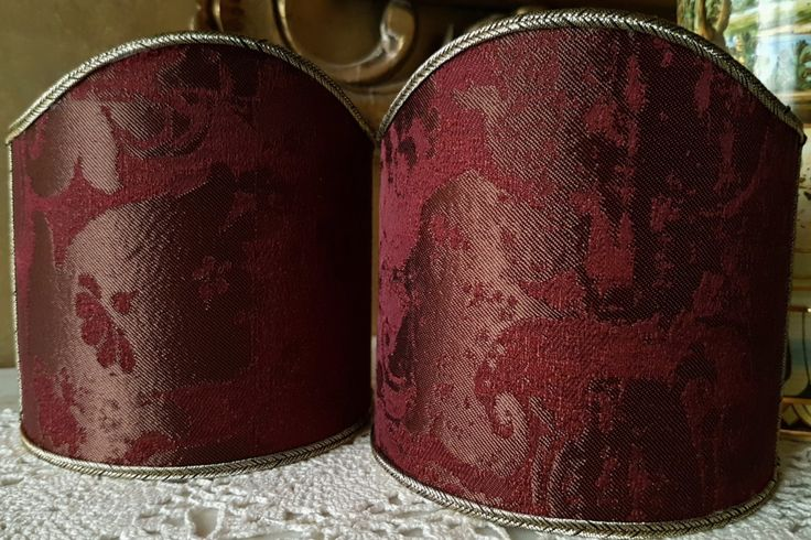 Pair of Clip-On Shield Shades Amethyst Jacquard Rubelli Fabric Gritti Pattern Mini Lampshade - Made in Italy by OggettiVeneziani on Etsy