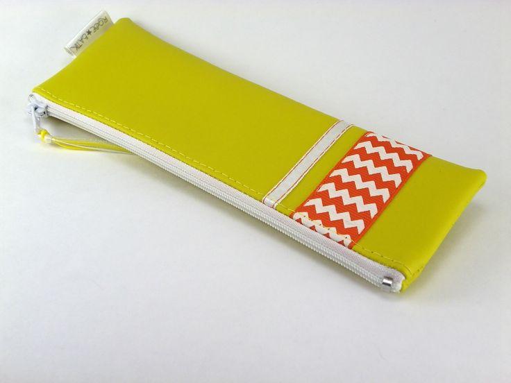 Etuis Crayon Jaune Chevron Orange - Pencils Case