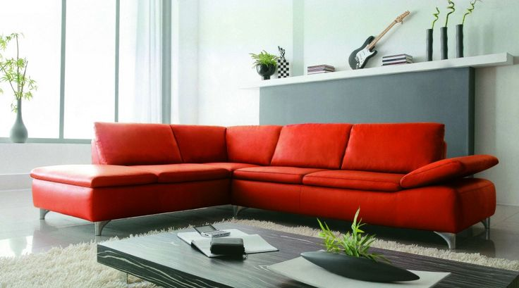 2915 Modern Red Leather Sectional Sofa