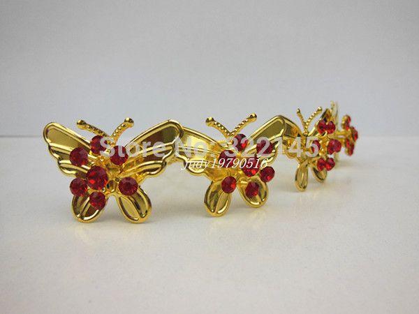 200 pcs/lot золото бабочка красный кристалл горный хрусталь свадьба свадебные женщины девочка волос шпильки волос клип палочки для волос волос орнамент