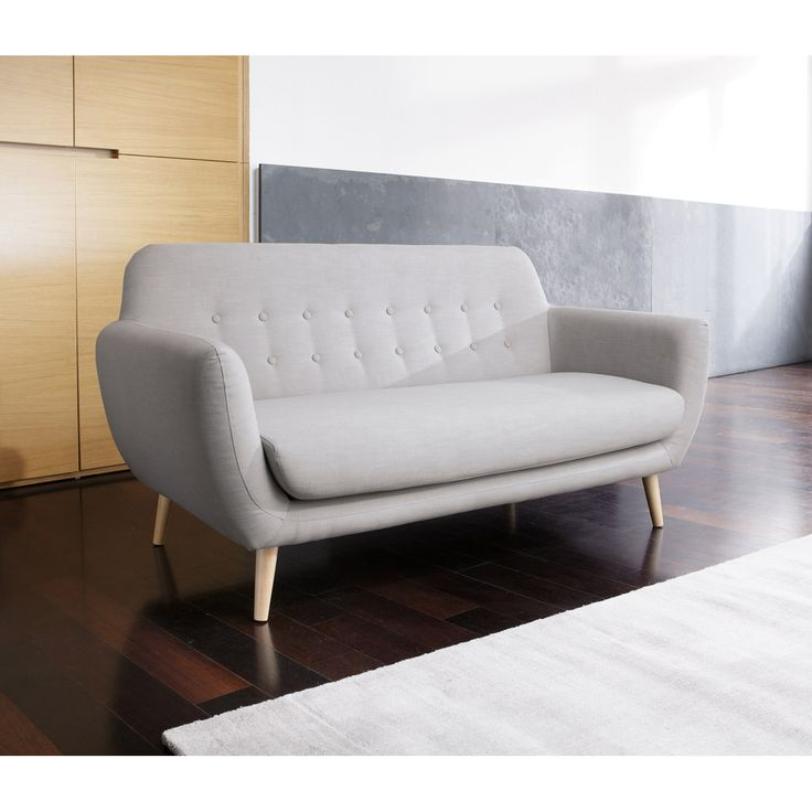 Canap 2 places r tro gris clair iceberg maisons du for Sofa maison du monde