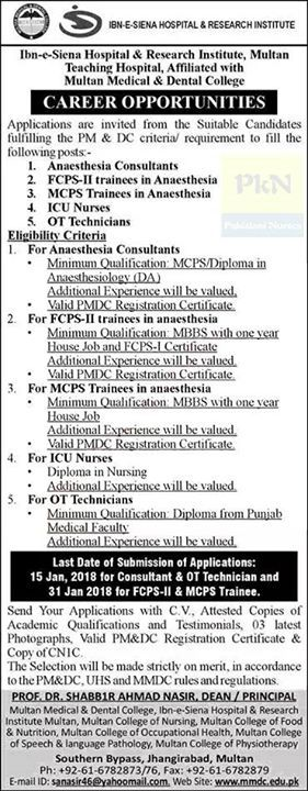 Nurses Jobs at Ibn-e-Siena Hospital and Research Institute Multan