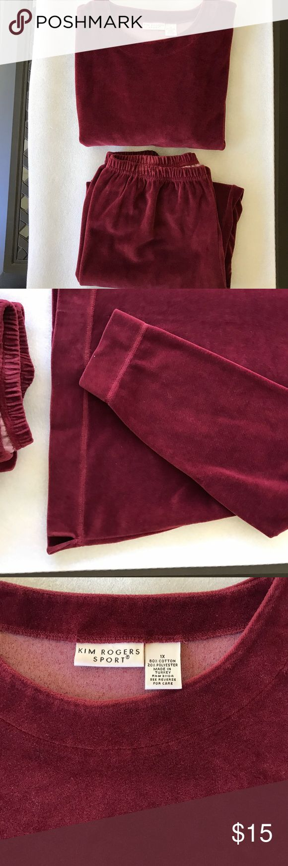 Woman's two piece velour pants suite Beautiful burgundy velour petite  1x pants and top great condition worn maybe twice Kim Rogers Sport Pants Straight Leg