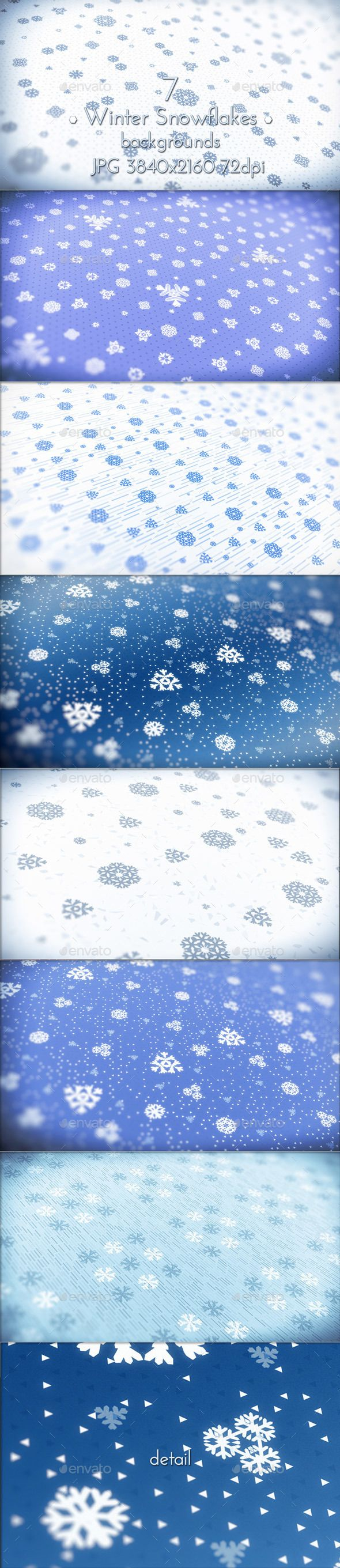 Abstract Blue Tone Winter Snowflakes Pattern Backgrounds.  7 images. Jpeg 3840×2160 (16:9 format) 72 dpi.