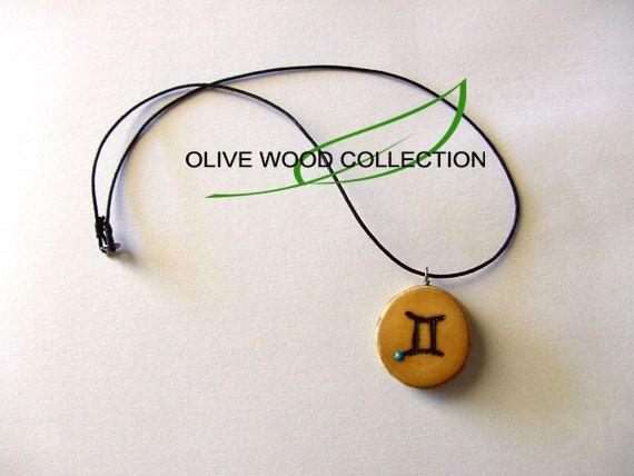 Twin Star Necklace Olive Wood Gemini Zodiac by SfairaKosmima