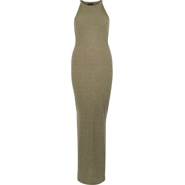 River Island Green ribbed bodycon maxi dress ($70) ❤ liked on Polyvore featuring dresses, green, maxi dresses, women, evening dresses, cocktail dresses, body con dresses, brown bodycon dress and green evening dress